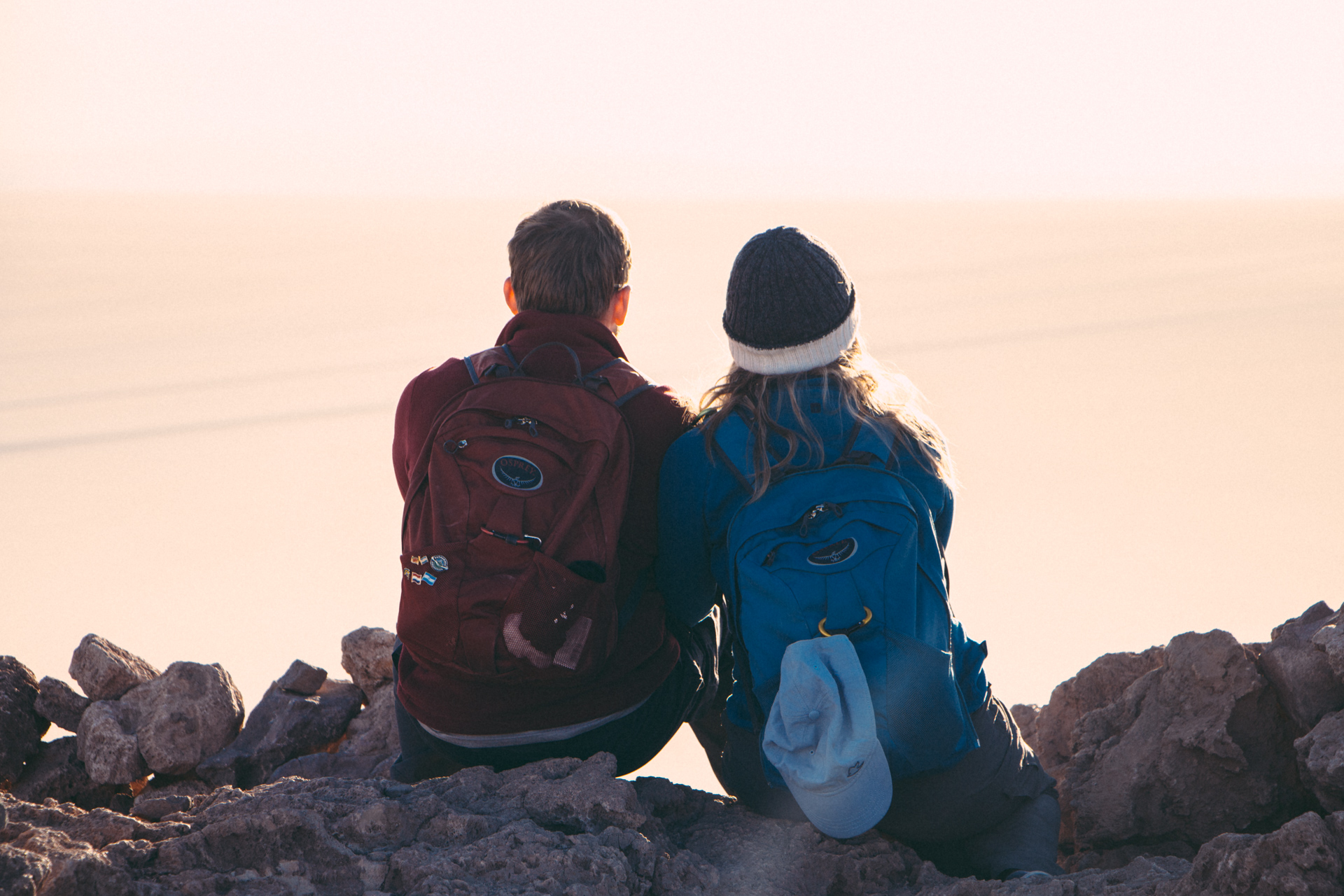 Alex and Alis looking into Sunrise over Salt Flats