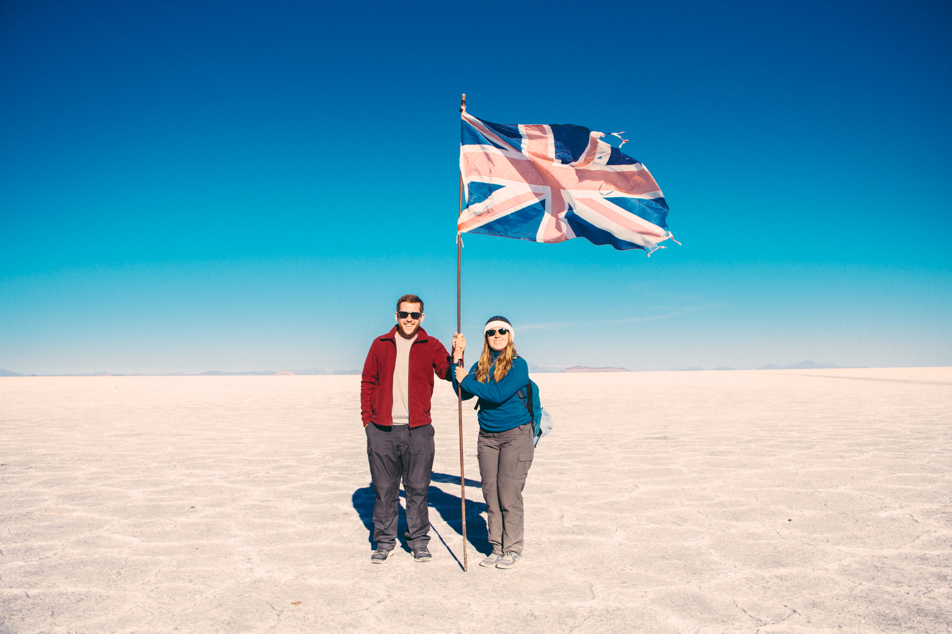 Alis and Alex U.K Flag Salt Flats