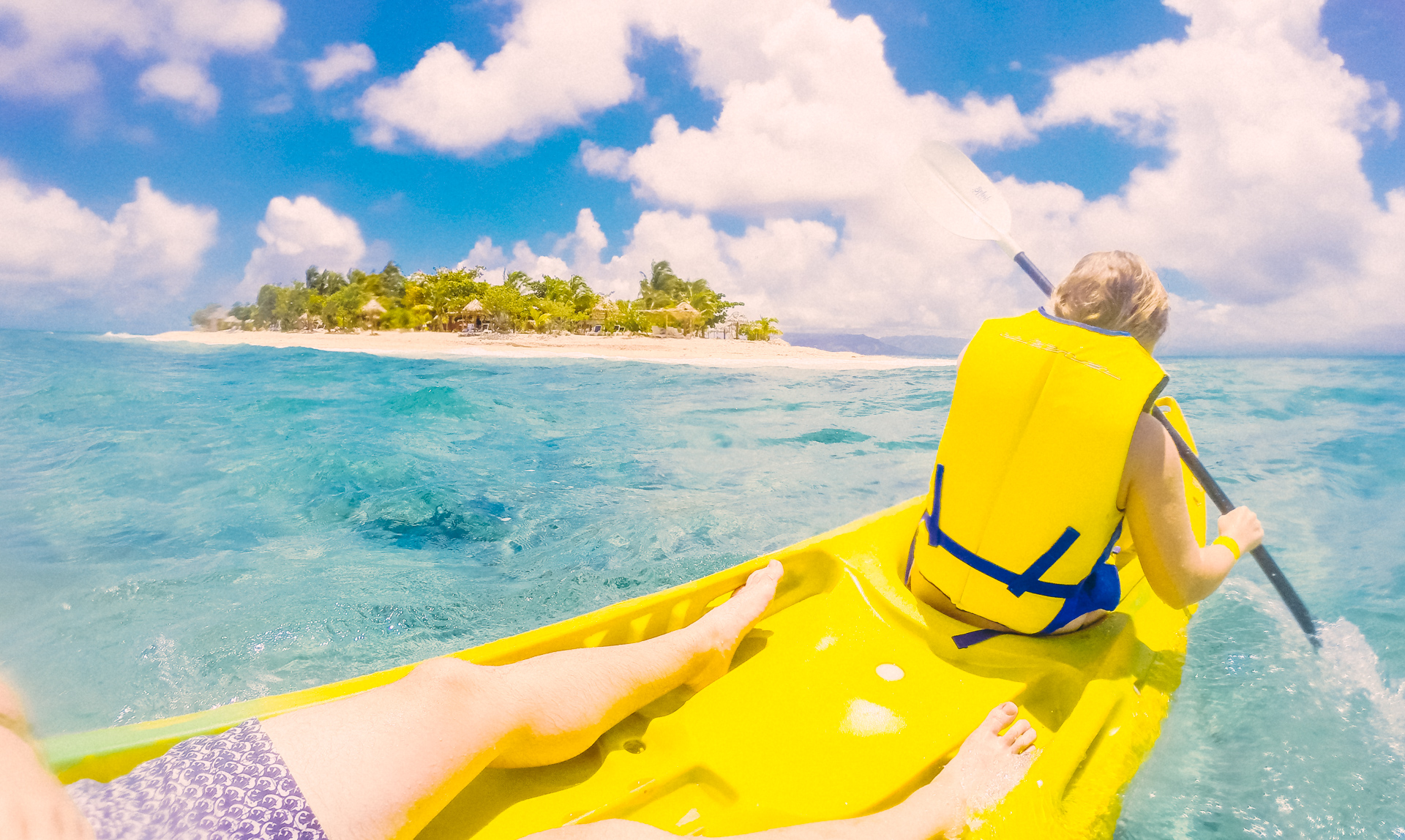 Kayaking around South Sea Island, Fiji