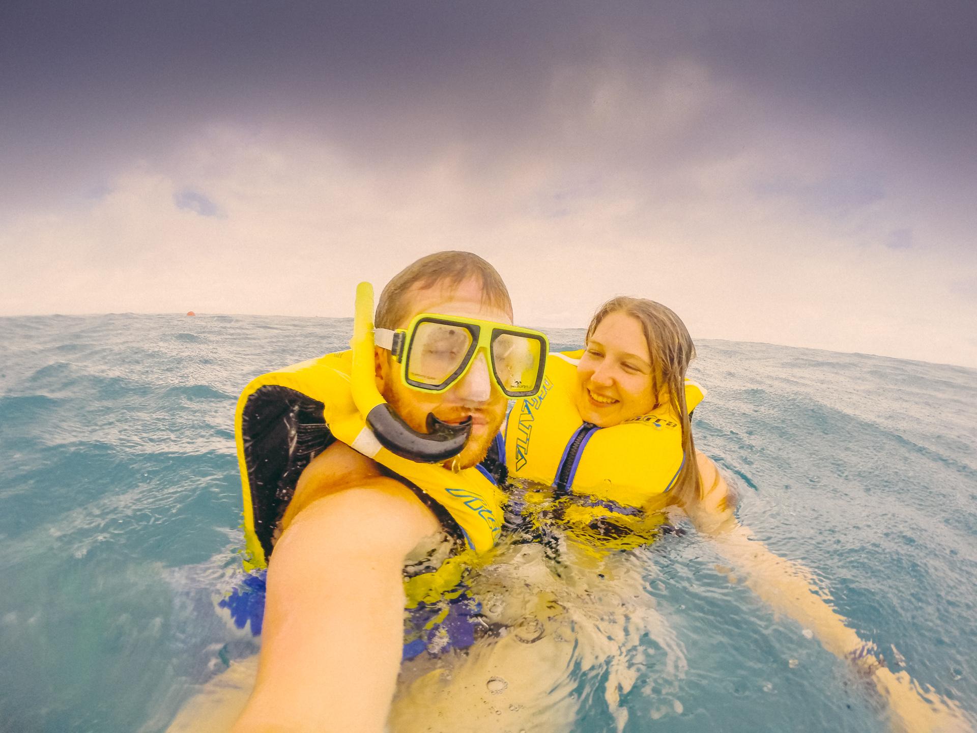 Swimming in the rain in Fiji near South Sea Island