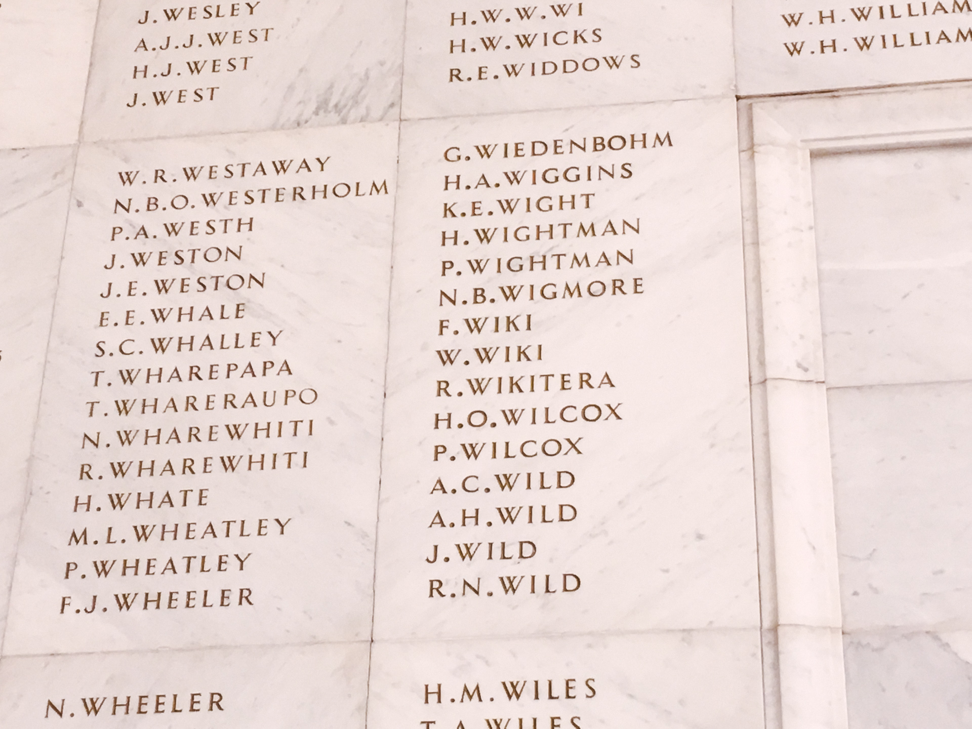 Wigmore Name in Auckland War Memorial Museum
