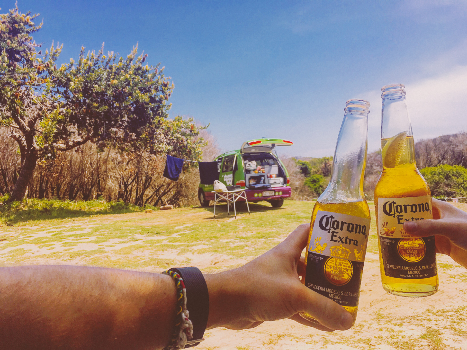 Drinking Corona with Jucy Campervan Australia