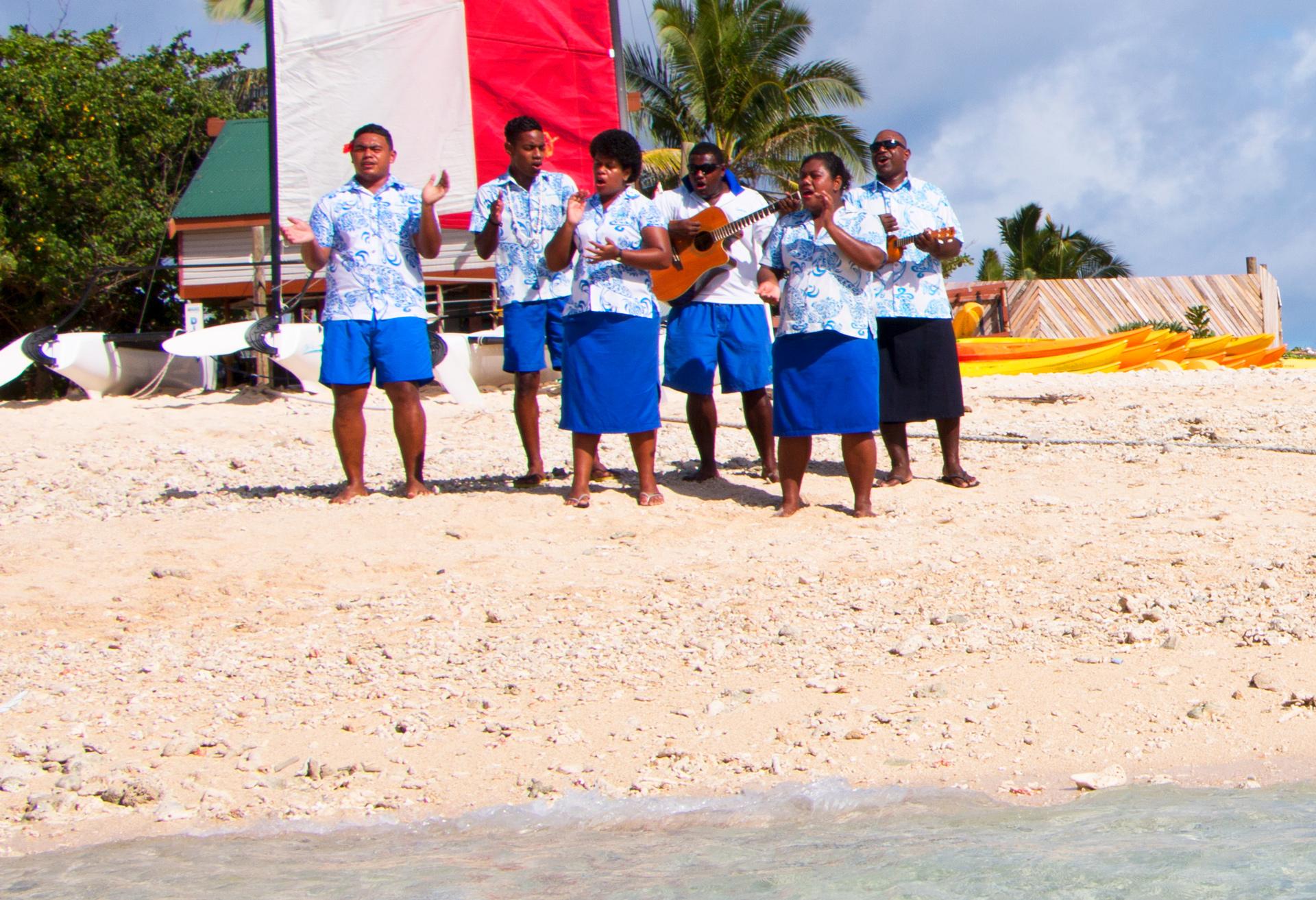 Welcoming people on South Sea Island, Fiji