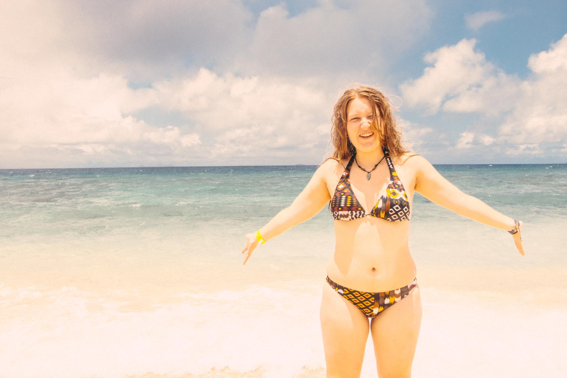 Alis on golden beach of South Sea Island, Fiji