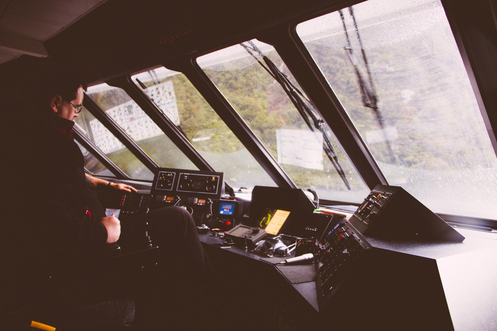 Milford Sound boat cockpit
