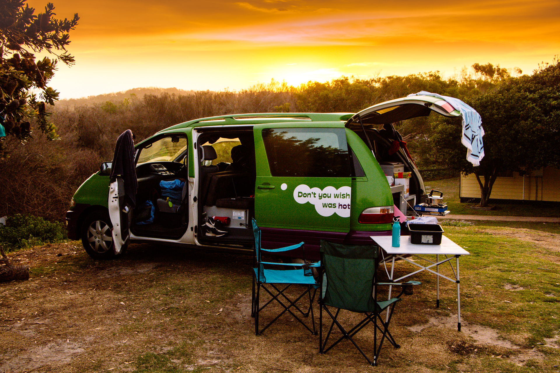 JUCY Campervan in the sunset of Australia