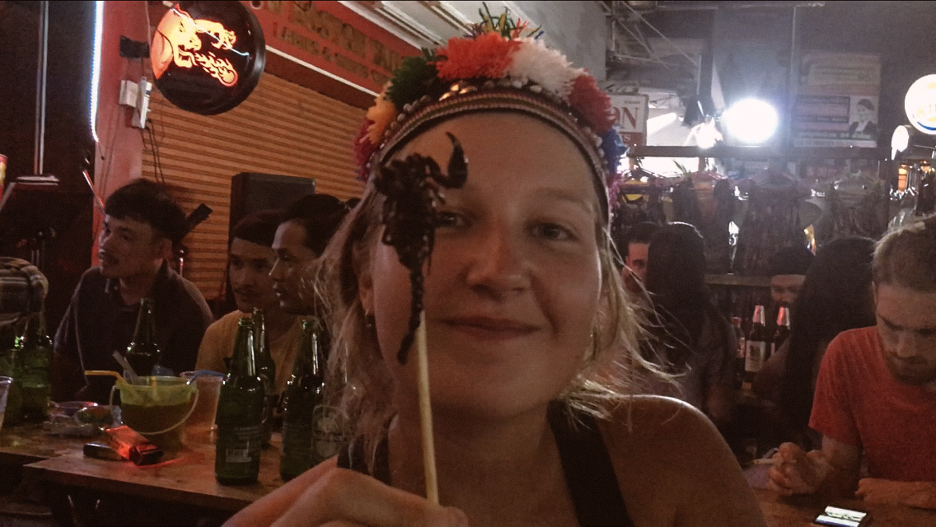Alis eating a scorpion Khao San Road Bangkok