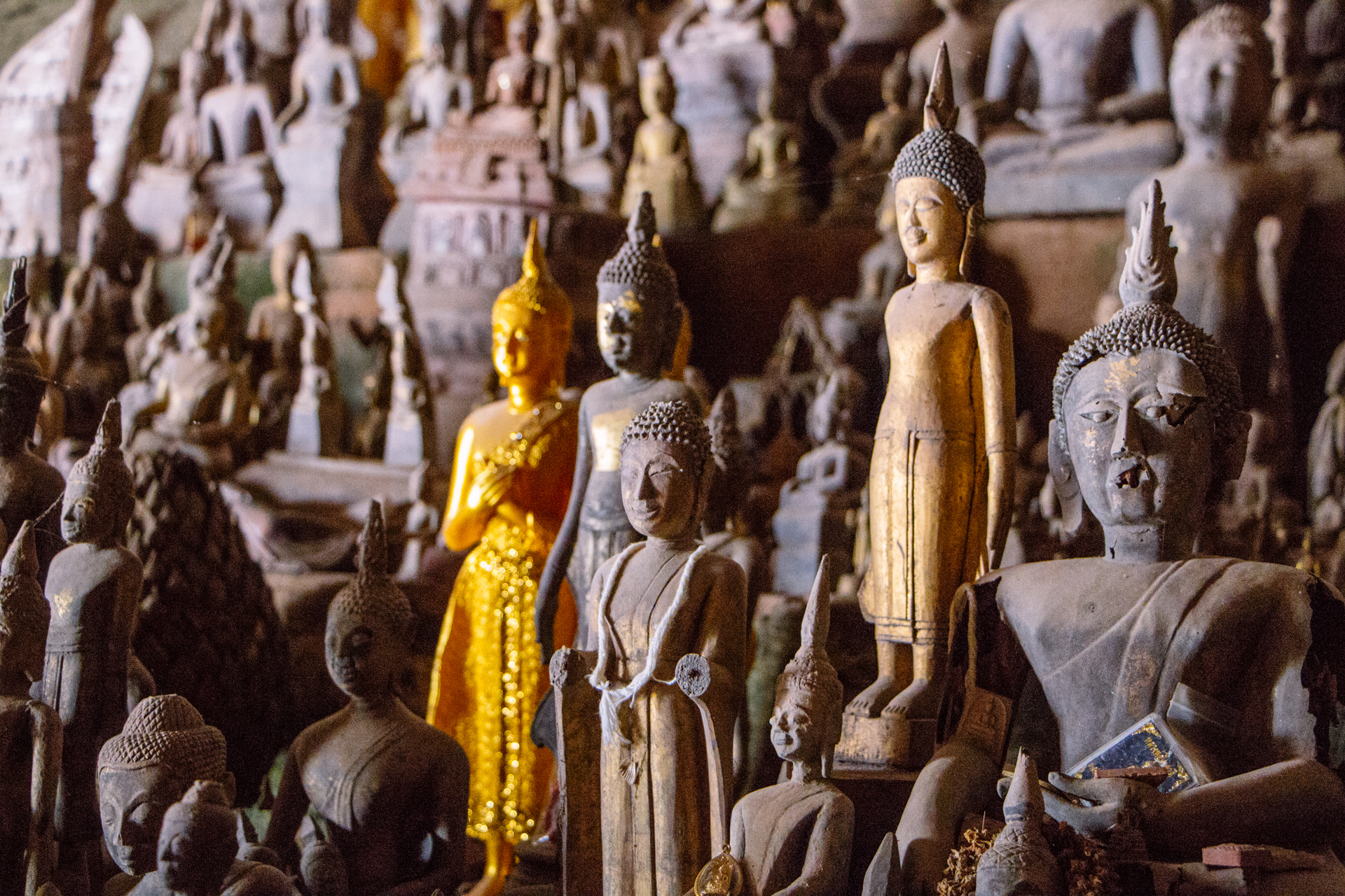 Pak Ou Caves hundreds of Buddhist Statues