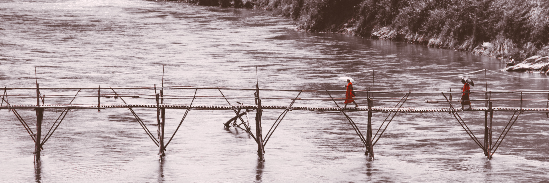 Monks Walk across bridge in Luang Prabang