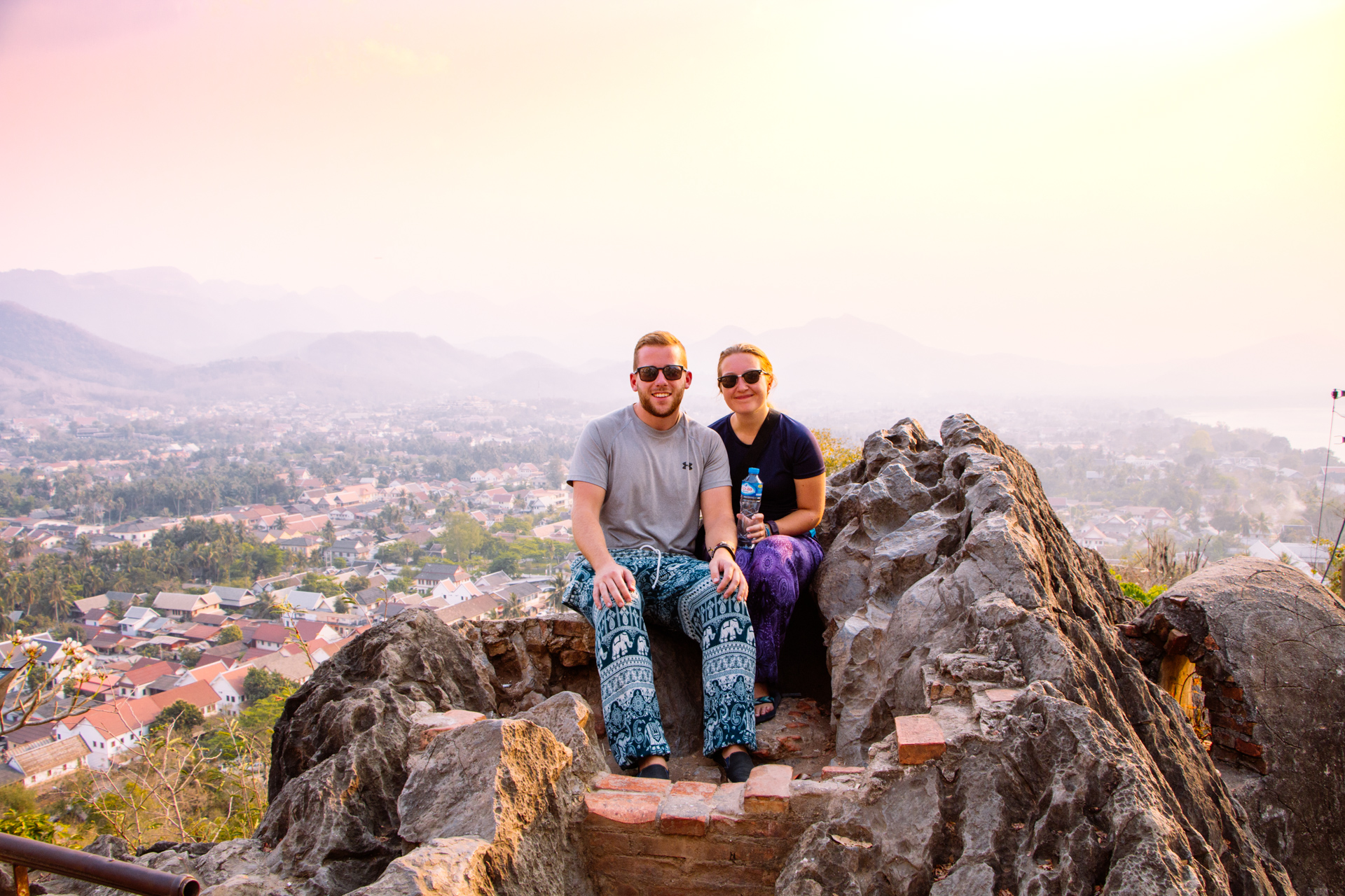 Alex and Alis Overlooking Luang Prabang from Mount Phousi