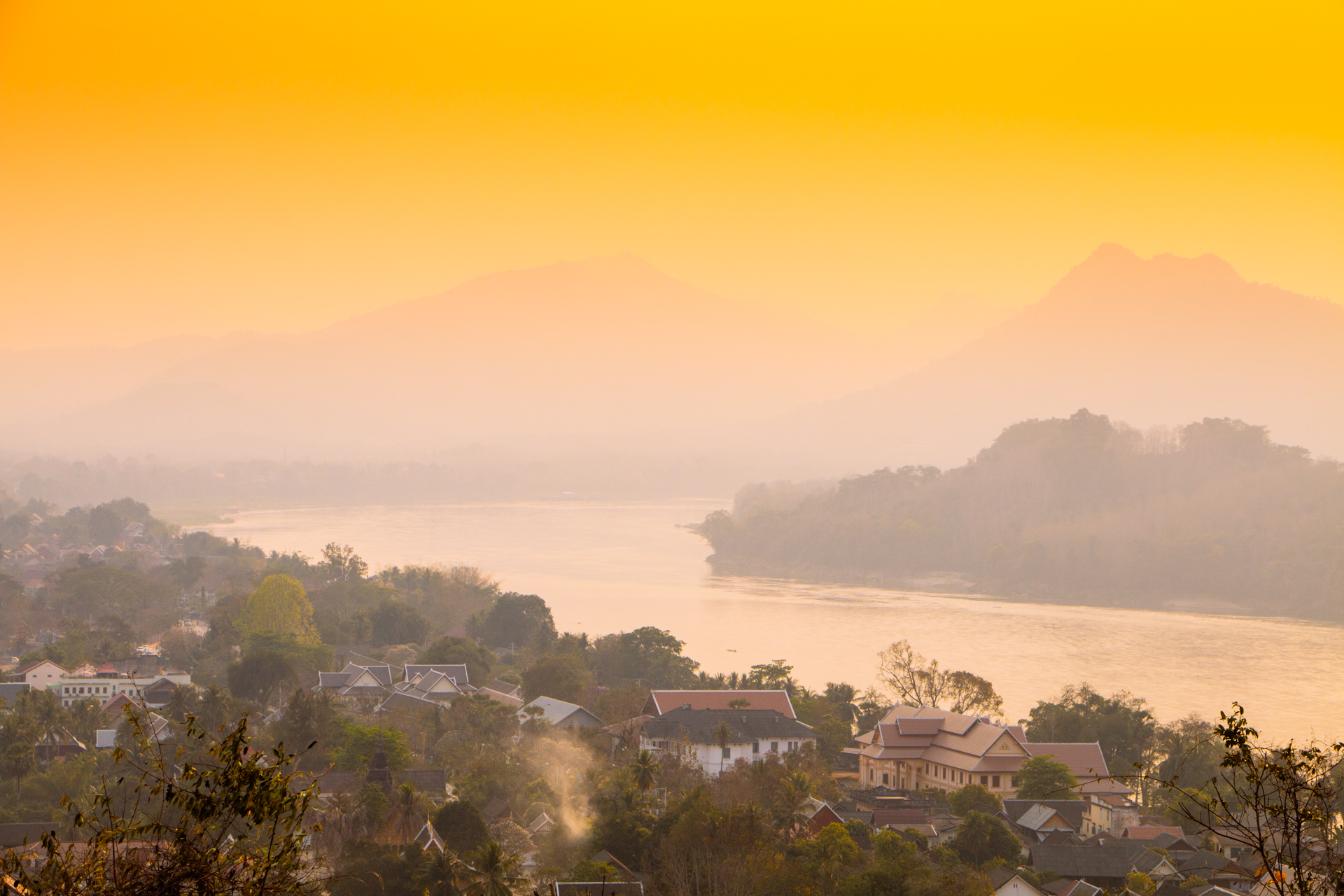 Sunset over Luang Prabang from Mount Phousi