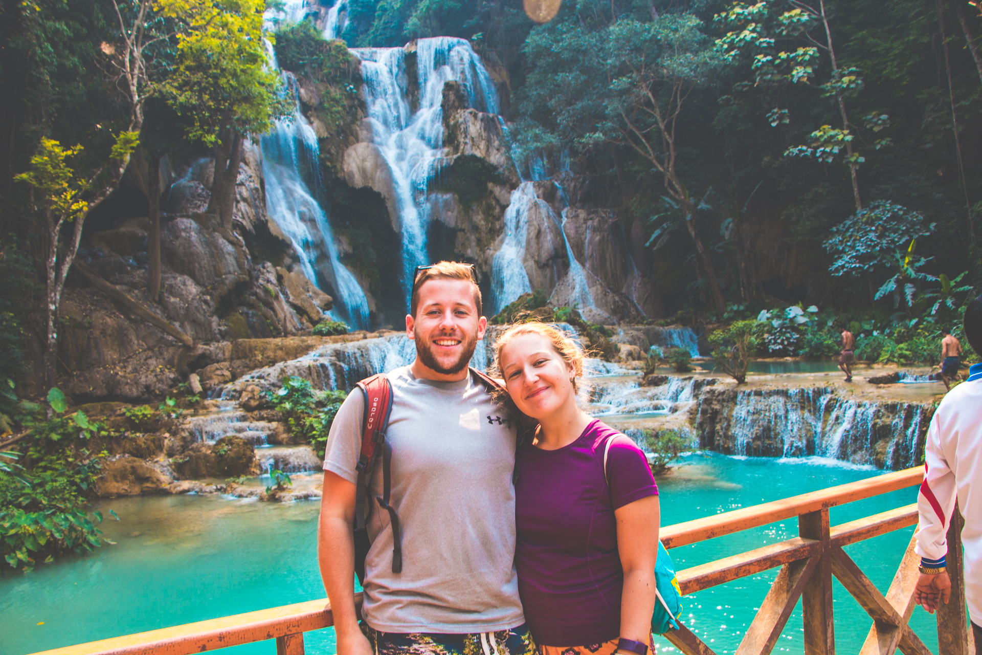 Alex and Alis at Kuang Si Falls near Luang Prabang