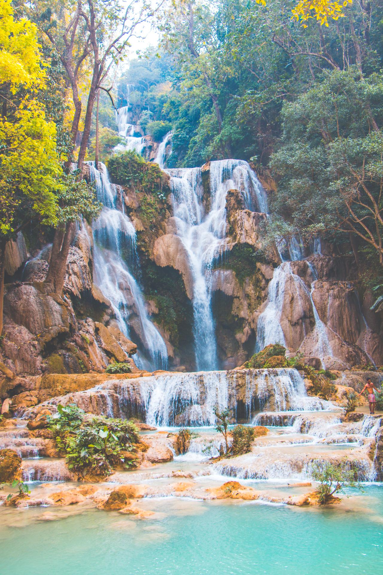 Kuang Si Falls cascading near Luang Prabang