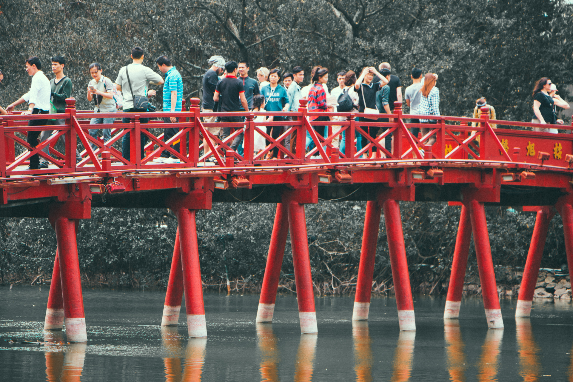 The Huc Bridge bridge Hanoi Hoan Kiem Lake