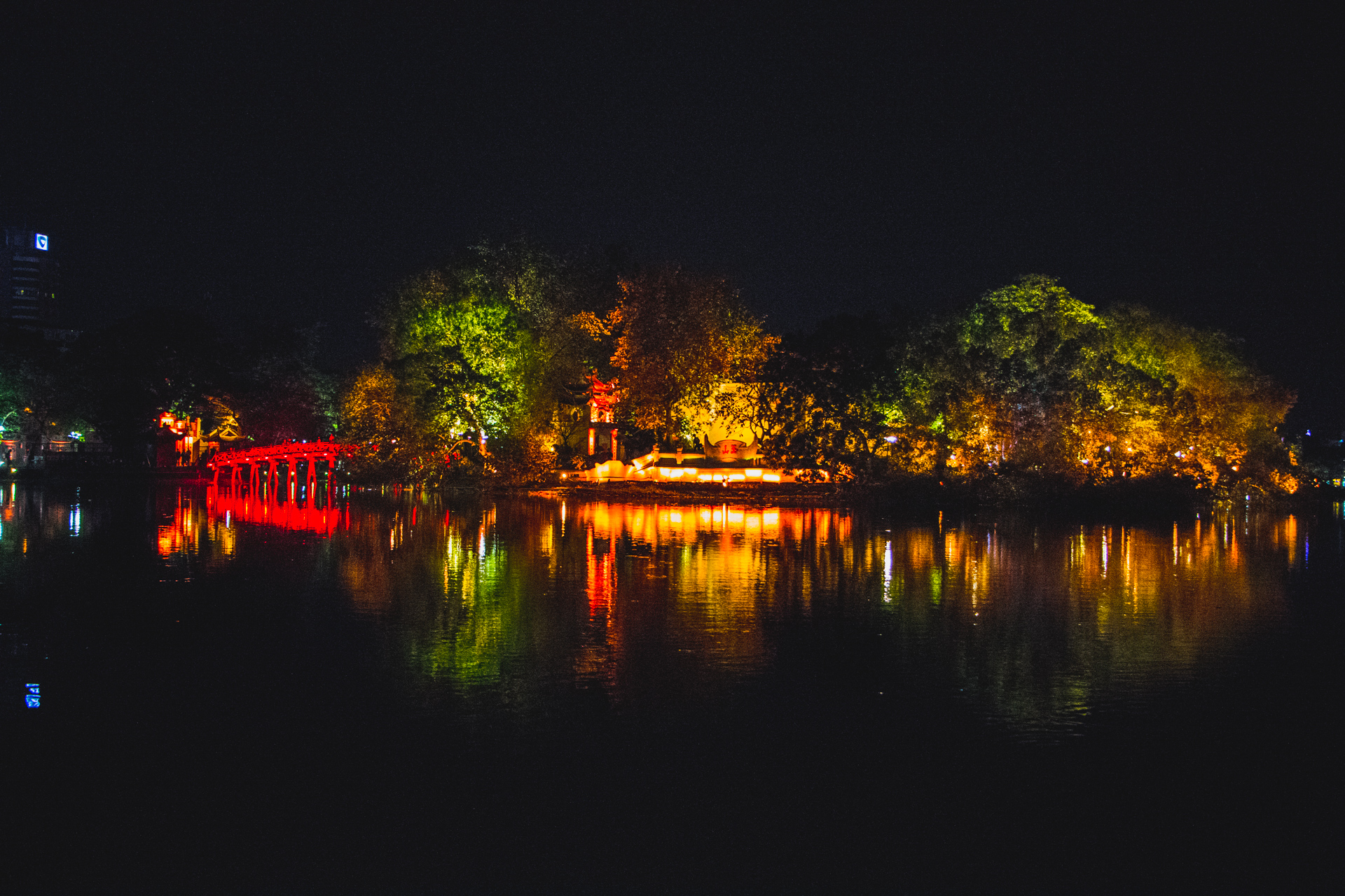 The Huc Bridge bridge Hanoi Hoan Kiem Lake at night