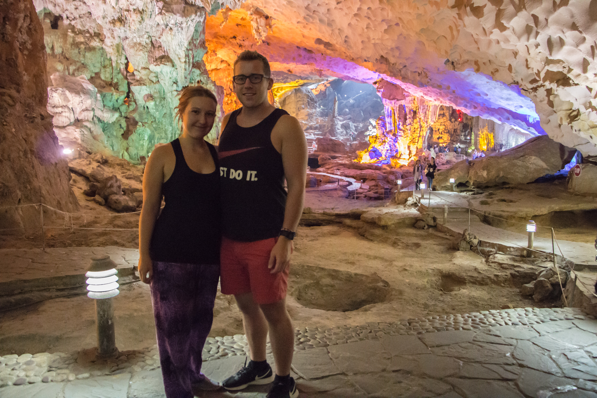 Alex and Alis in Dau Go Caves, Halong Bay, Vietnam