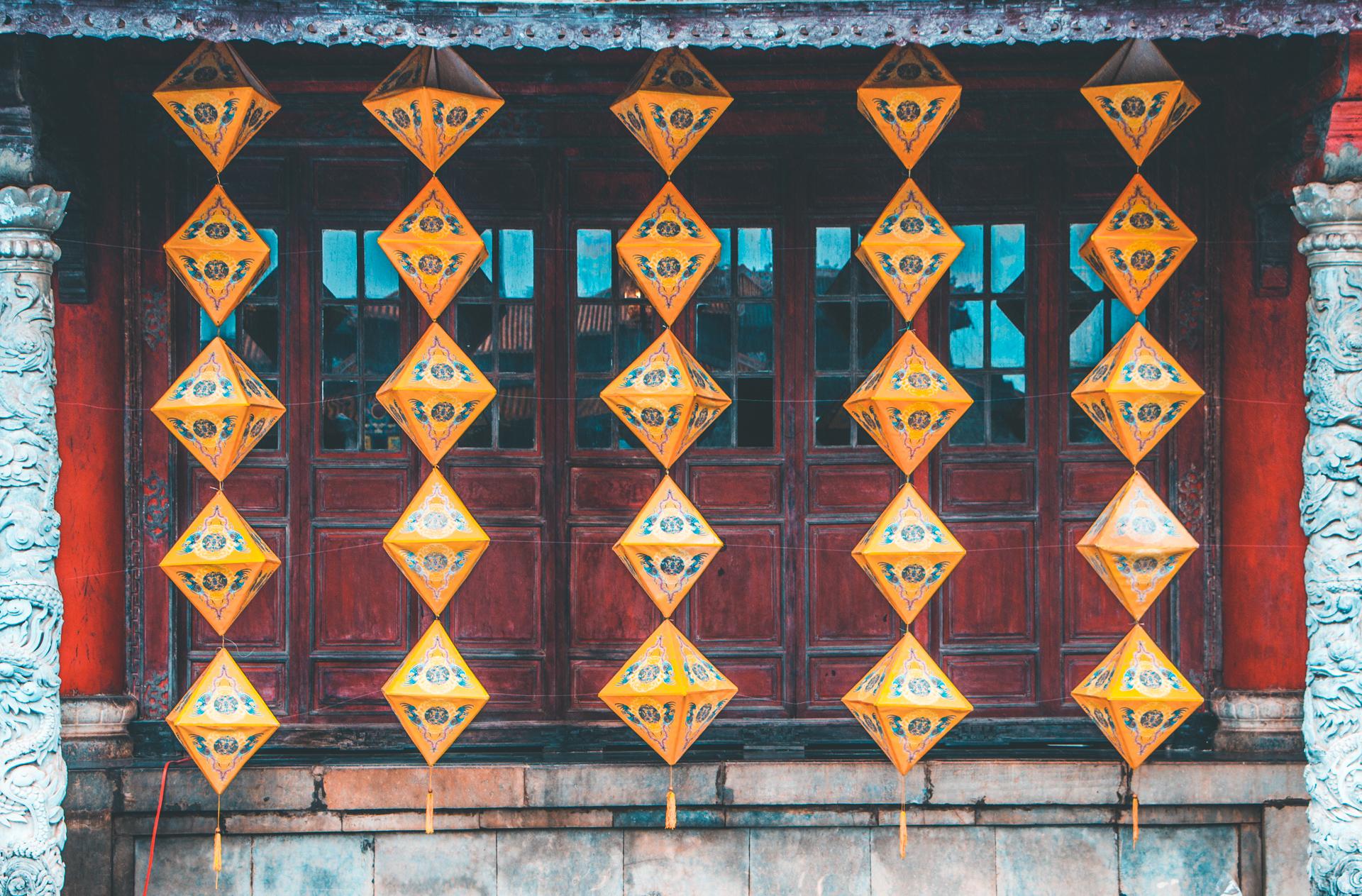 Beautiful string of lanterns Hue Citadel, Vietnam